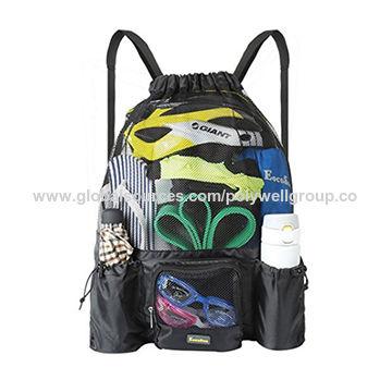 China Mesh Swimming Bag Drawstring Backpack Mesh Mummy Backpack