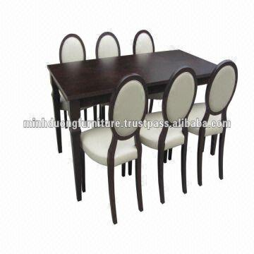 dining set 1 table 6 chairs made of rubber wood mdf veneer ash