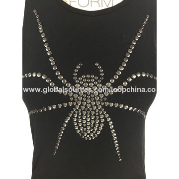 China Women's hot fix stones tank tops
