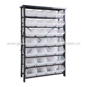 ... China Metal Storage Rack With Plastic Storage Bins +28 Extra Large Bins