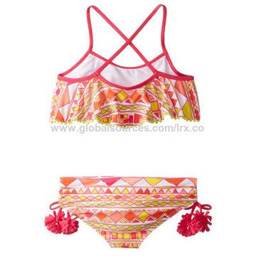 63dde1ac02e47 Girl's bikini,crisscross back strap,flouncing lace at top,triming at side  bottom