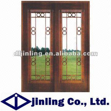 China Standard Interior Solid Wood Door With Iron Grill Design