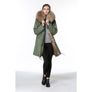 Wholesale lady winter garment with rec rabbit lining by fast delivery from winter garment supplier