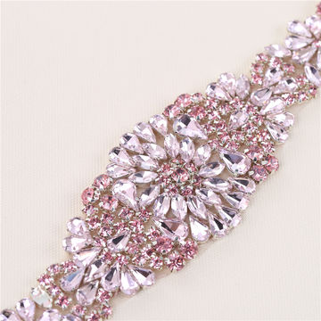 China pink rhinestone crystal applique from guangzhou trading china pink rhinestone crystal applique for wedding dress and headdress decoration junglespirit Choice Image
