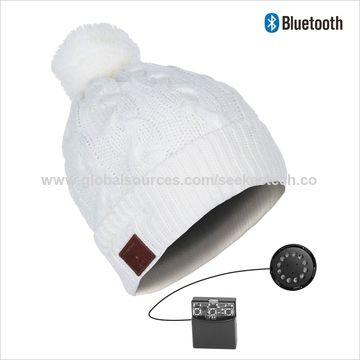 7e17578a1751a8 ... China 2019 Pom-Pom Bluetooth Headphone Beanie Twister Knitting Cuff  Beanie in Beautiful Blue Lovely ...