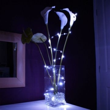 china led lit silk ribbon string lights battery powered christmas gift led twinkle silk flowers