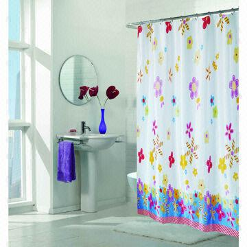 China PVC PEVA Polyester Satin Shower Curtain With Metal Eyelets