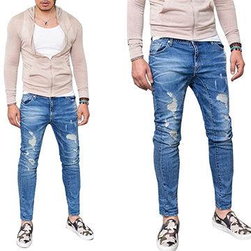 China 2016 New Design Destroyed Denim Jeans Pants For Man Crushed Lotm089