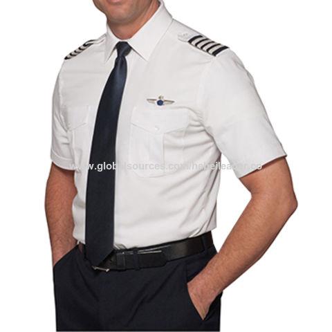 5394e484c5c China Long sleeve white T C men s pilot shirts with epaulet on ...