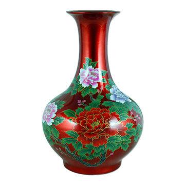 14 Crystal Glaze Porcelain Flower Vase In Burgundy Global Sources