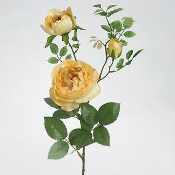 Artificial Satin Cabbage Rose Spray With 1 Medium Flower And Bud