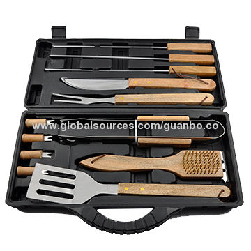 China Stainless Steel Professional Bbq Tool With Skewer Set Snap On