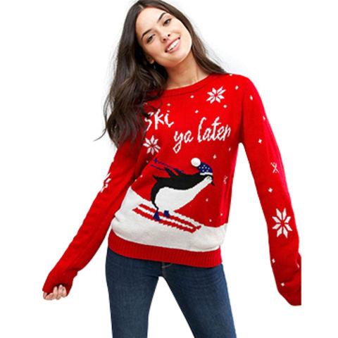 ... China Suéter rojo del punto del pingüino de la Navidad para las mujeres 29a8d2b15b03