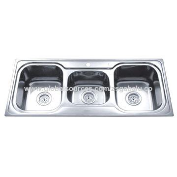China Triple Bowl Stainless Steel Undermount Apartment Size Kitchen Sinks
