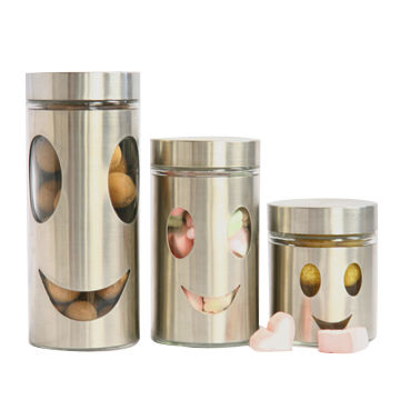 China 3pcs kitchen storage canisters, window and stainless ...