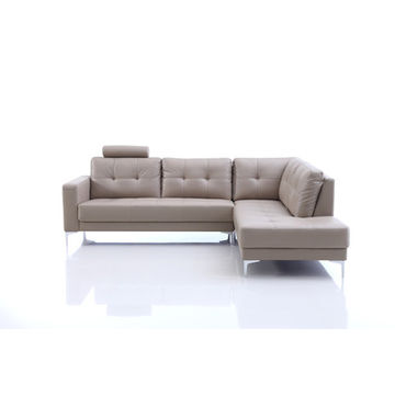 China Modern Real Leather Sofa With Chrome Legs