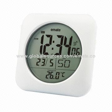 Atomic Digital Bathroom Clock with Waterproof Feature and Indoor Temperature. Atomic Digital Bathroom Clock with Waterproof Feature and Indoor
