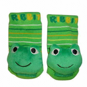 Baby Frog Rattle Socks Made Of 87 Cotton 12 Nylon And 1