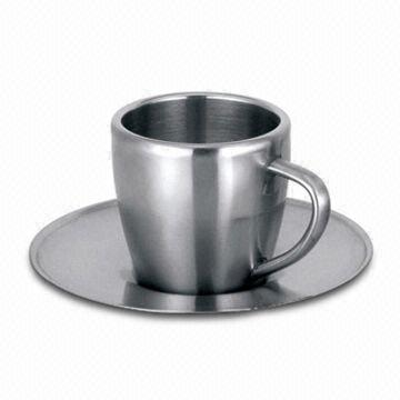 China Stainless Steel Coffee Cup Mug With The Plate Double Wall And 3 5