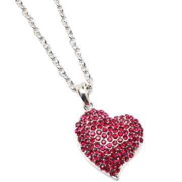 Hong kong sar heart shaped pendant necklace from trading company hong kong sar heart shaped pendant necklace decorated with rhinestone various colors and aloadofball Image collections