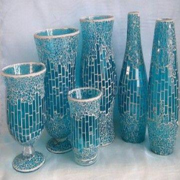 Top mosaic glass vase in blue series | Global Sources RL06