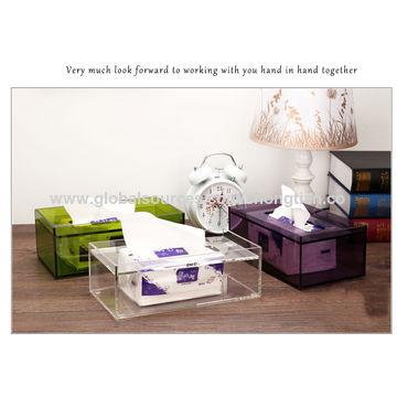 China Purple Acrylic Tissue Box Cover