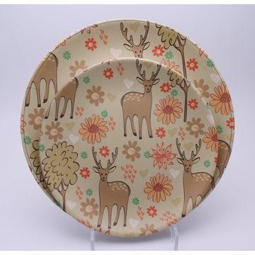 China Bamboo Fiber Dinnerware Set with Deer, Set of 4,Non-toxic and BPA Free