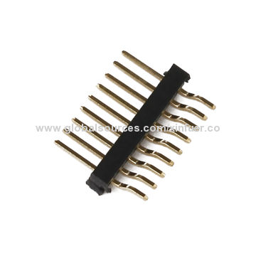 China 1.27mm Pin Header, 2.0mm Height, SMT Type, Brass Material, PA6T Insulator body, single body