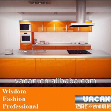 Orange Color Lacquer Finished 18mm Mdf Kitchen Cabinet