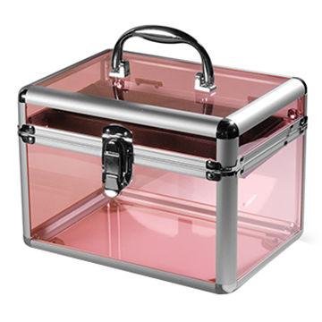 China Pink fashion aluminum acrylic display box storage makeup nail kit ...