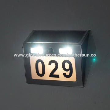 Solar door number light with PIR sensor