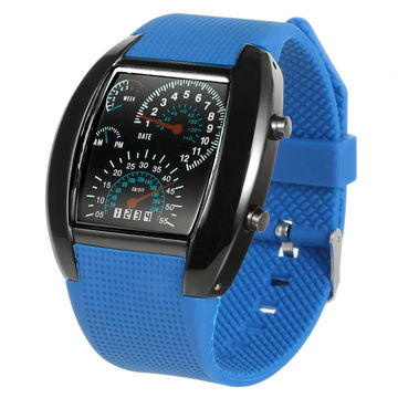 Men S Fashion Sports Car Meter Aviation Turbo Dial Silicone Band