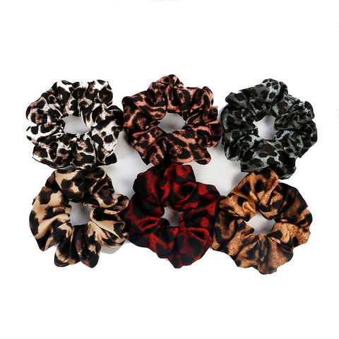 New Womens Two Piece Animal Print Hair Elastic Scrunchie Hairband Accessories