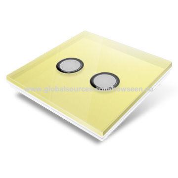 China Smart Home Wireless Light Switch, Yellow Glass Panel, 3 Gang
