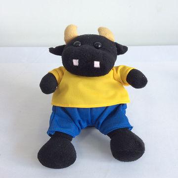 Baby Kids Gift Soft Stuffed Animal Black Cow Cattle Fur Plush Toy