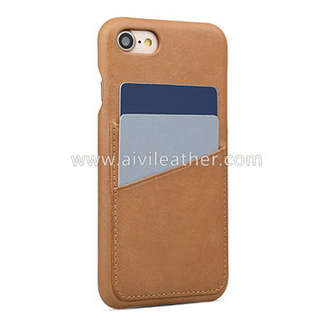 China Tan leather back cover case for iPhone 8