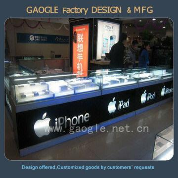 Customized mobile phone shop interior design with led lights ...