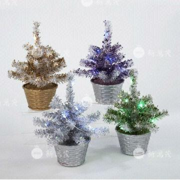 china 8 inch multi colored potted artificial christmas tree - Potted Artificial Christmas Trees