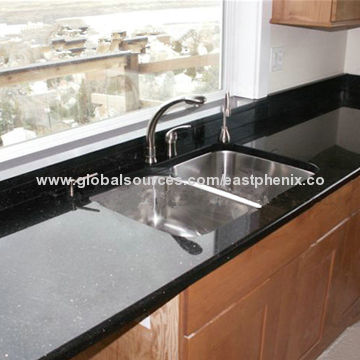 Prefab Black Galaxy Quartz Countertop China Prefab Black Galaxy Quartz  Countertop