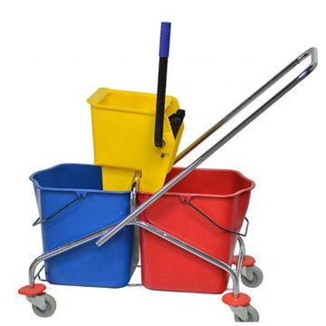 Cleaning trolley double bucket with press.