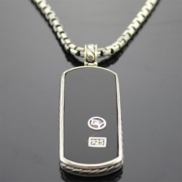 Mens Jewelry Sterling Silver Black Onyx Dog Tag Pendant Necklace
