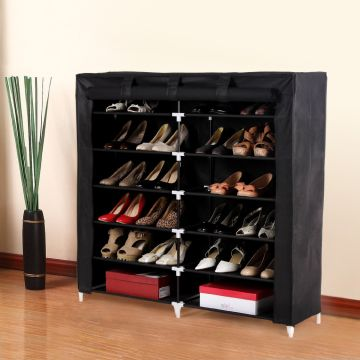 7 Tiers Portable Shoe Rack Closet With Fabric Cover Shoe Storage