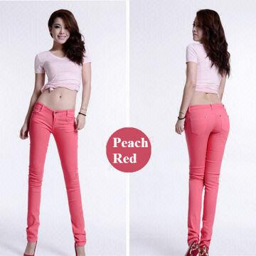 Pink color girls sexy elastic jeans 1. fabric: cotton with elastic ...