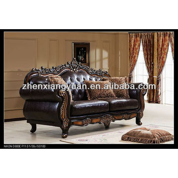 China Home Furniture Wooden Sofa Faux Leather Antique So
