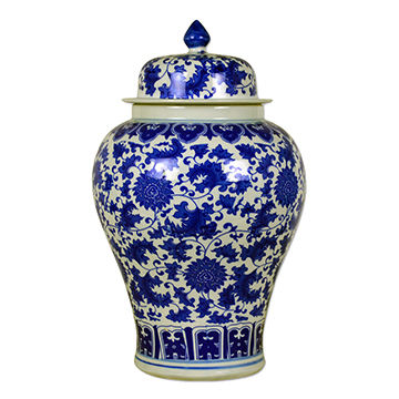 16 Blue And White Porcelain Temple Jar Reproduction Of Ming Dynasty