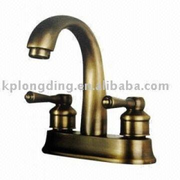 China Two Handles Antique Br Centerset Bathroom Sink Faucet