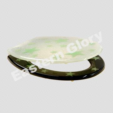 China Toilet Seat with Star-Printed Cover Made of Clear Resin