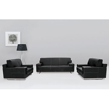 China Luxury Leather Sofa Office Furniture Reception Room PU Sofa Set ...