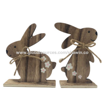 China Hanging Wooden Rabbit Crafts Home Decoration Ornaments Easter