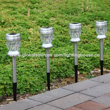 ... China Solar Outdoor Dual LED Garden Light Landscape Pathway Lights  Stainless Steel Color Changing ...
